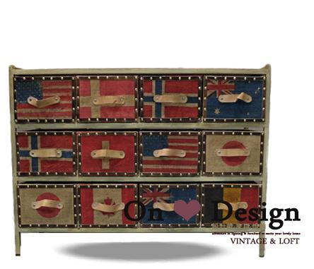 On ? Design ?INDUSTRIAL CABINET 工業風格家具 國旗字繪 仿舊 麻布收納櫃-矮12抽 特價15040