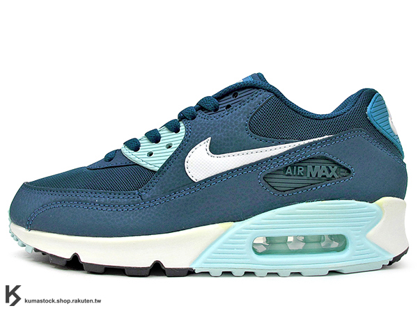 [17%OFF] SLY 限定 2015 NSW 經典復刻鞋款 人氣商品 NIKE WMNS AIR MAX 90 ESSENTIAL 女鞋 湖水藍 藍白 皮革 尼龍網布 (616730-400) !