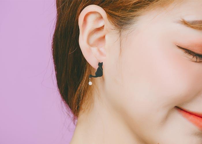韓國耳環,夾式耳環,耳夾,矽膠夾耳環,貓咪造型造型耳環,黑貓造型耳環