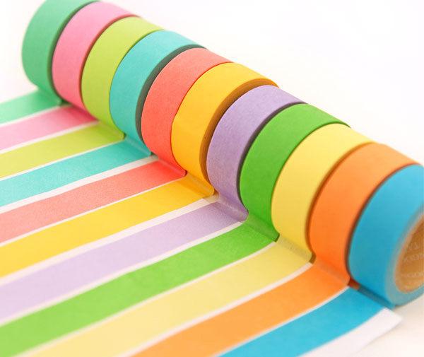 PS Mall╭*韓國文具 夏日繽紛 清新可愛糖果色 純色和紙膠帶 手撕可寫字 【J2206】