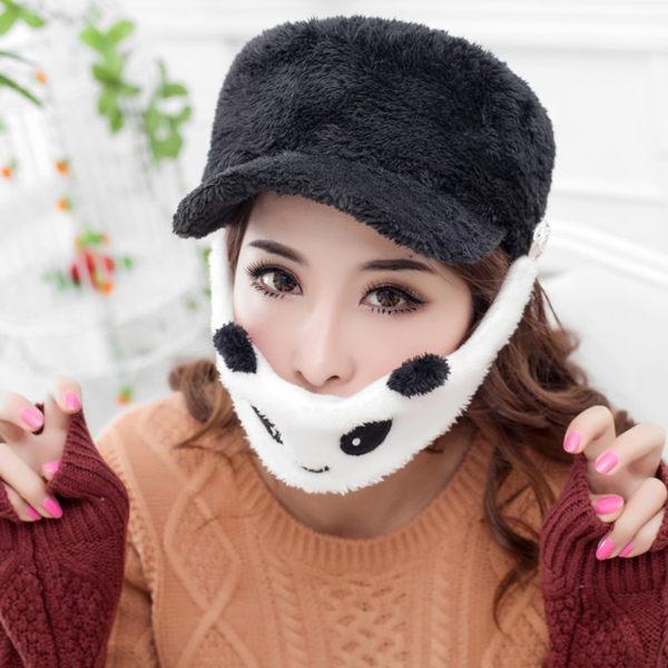 PS Mall╭*新款毛絨棒球帽秋冬男女士可愛卡通熊貓口罩雙用韓版 潮情侶帽子【J177】