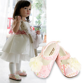 *babygo*Kinderspel 設計師款寬頭柔軟學步鞋-粉嫩小公主(精緻花)【M/L】KS-KT010