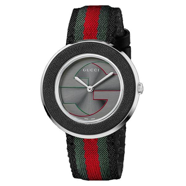 Gucci 古吉YA129444帆布多彩帶雙G面時尚腕錶/黑面35mm