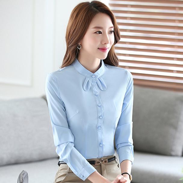 灰姑娘[YS-1781-PF]可愛小領結純色OL長袖襯衫