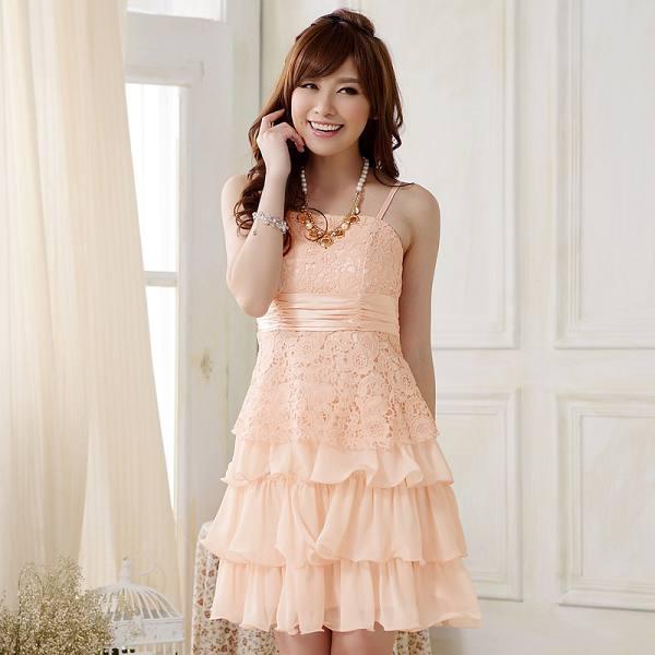 灰姑娘[9909-JK]中大尺碼*甜美蕾絲蝴蝶結綁帶雪紡蛋糕公主裙~謝師宴小禮服~