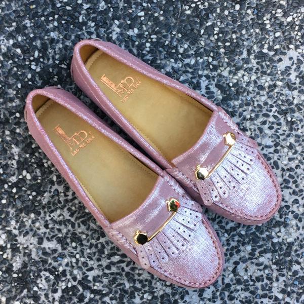 全真皮經典款流蘇豆豆鞋 亮晶粉色 親子鞋 媽媽鞋 鞋墊加厚 超軟 LaoMeDea