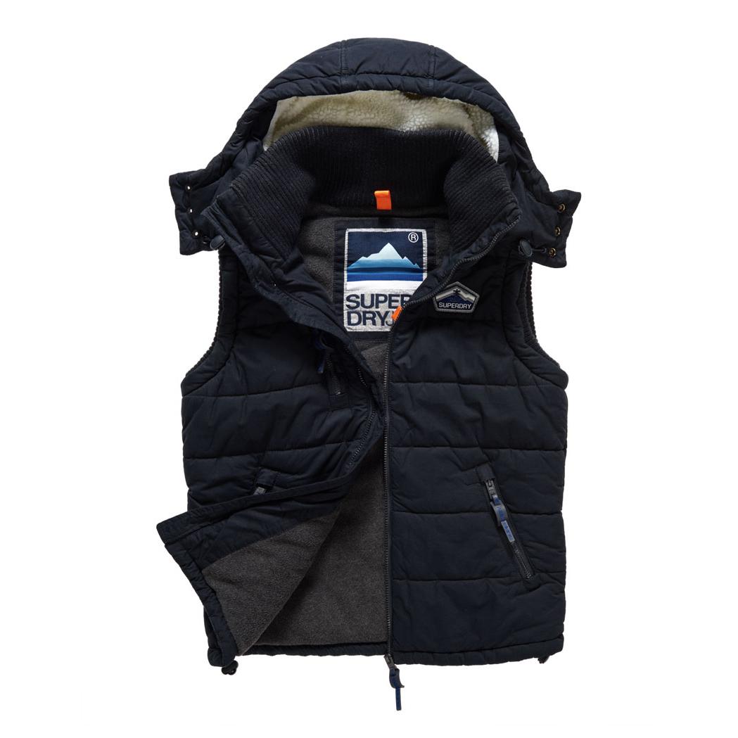 美國百分百【全新真品】Superdry 極度乾燥 Bluestone 連帽 背心 外套 刷毛 防風 海軍藍 G150