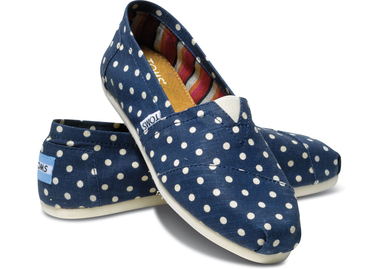 【TOMS】深藍色棉麻點點平底休閒鞋 Navy Polka Dots Linen Women\