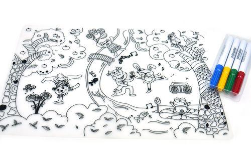 ★衛立兒生活館★英國mombella 森林派對塗鴉矽膠餐墊 (含四色塗鴉筆)