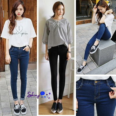 【V0075】shiny藍格子-完美顯瘦.簡約高腰修身彈力九分小腳牛仔褲