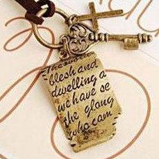 ?蔻拉時尚? [BC046N10] 莎士比亞情書與十字架愛之鑰 皮繩復古長款項鍊