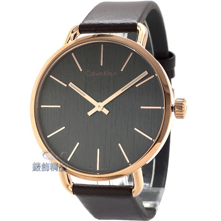 【錶飾精品】CK手錶 EVEN系列 優雅時尚 岩紋設計 IP玫瑰金框 灰黑面咖啡皮帶男錶 K7B216G3 全新原廠正品