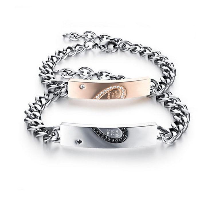 最新款日韓風格經典時尚愛心拼圖鑲鑽造型情侶款鈦鋼手鍊