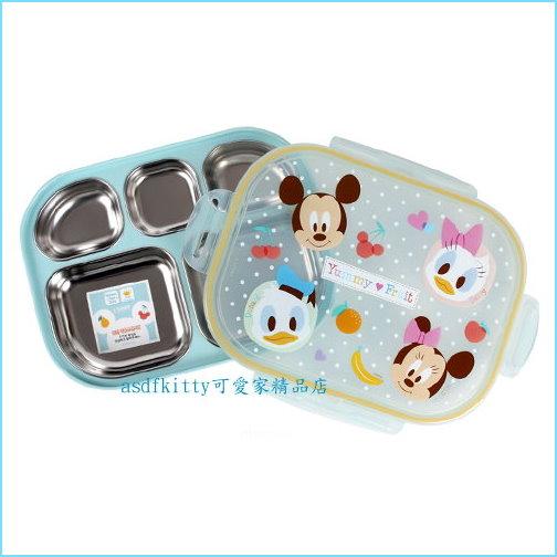 asdfkitty可愛家☆迪士尼米奇防燙樂扣型有蓋304不鏽鋼餐盤便當盒-韓國製