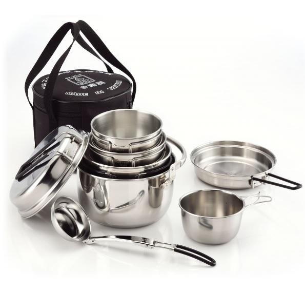 【露營趣】中和 文樑 ST-2020 頂級不銹鋼精品組 鍋具組 套鍋組 湯勺 碗 平底鍋 煎鍋 煎盤