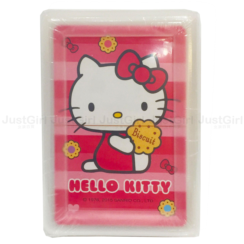 HELLO KITTY 撲克牌 紙牌遊戲 條紋 餅乾 PP盒 39元 文具 台灣製造 * JustGirl *