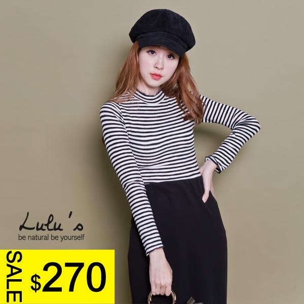 LULUS-C拷克邊立領橫紋上衣-黑白 現+預【01016024】