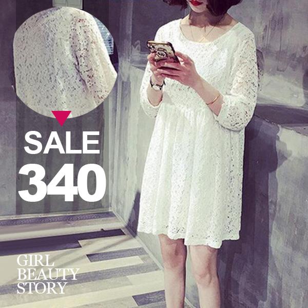 SISI【D6232】可愛甜美韓版寬鬆圓領顯瘦蕾絲雕花七分袖娃娃連身裙洋裝