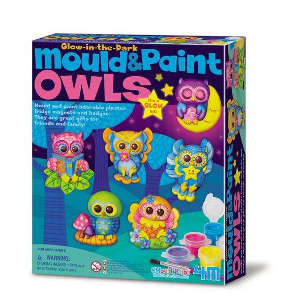 【4M 創意 DIY】00-04654 夜光貓頭鷹(製作磁鐵) M&P Glow Owls