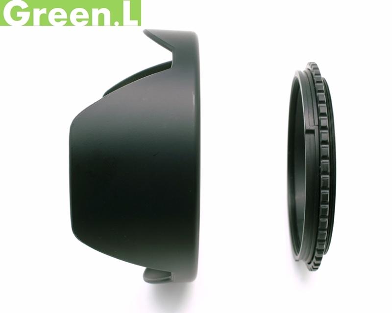 又敗家@可反扣反裝Green.L綠葉2件式52mm螺牙遮光罩(螺口轉接座+蓮花遮光罩)Canon佳能Nikon尼康Sony索尼PENTAX賓得士遮陽罩