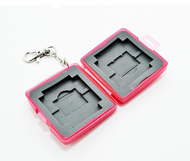 又敗家@粉紅uWinka SD.CF.XD.MSPD記憶卡儲存盒附鑰匙鏈 記憶卡保存盒記憶卡保護SDHC卡盒Memory Stick PRO DUO記憶卡收納盒 MS PD