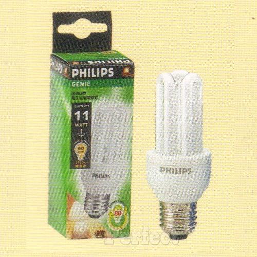【PHILIPS ● 飛利浦】GENIE電子式3U11W省電燈泡110V 晝光色 / 燈泡色
