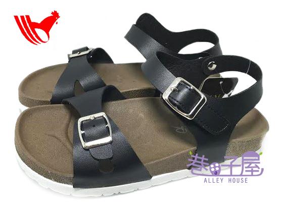 【巷子屋】ROOSTER公雞 女款經典勃肯單釦涼拖鞋 [2337] 黑色 MIT台灣製造 超值價$198