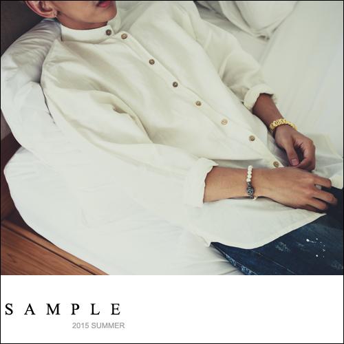 低肩線 長版襯衫【SA13420】亨利領 飛鼠袖 棉麻素面長版襯衫【Sample】