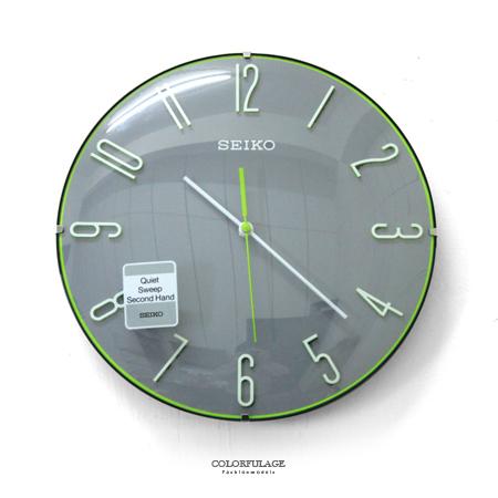 SEIKO精工掛鐘 獨特球型玻璃面x立體數字x青春洋溢綠色細邊設計時鐘 柒彩年代【NG13】原廠公司貨