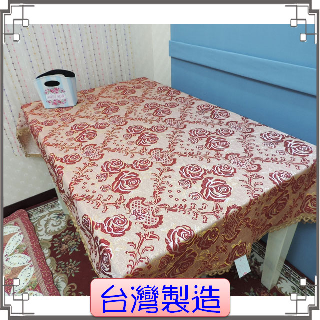 台灣製造桌巾《雍容-紅》鄉村風緹花桌布 桌巾 床尾巾 沙發巾 萬用巾 電視櫃蓋布◤彩虹森林◥