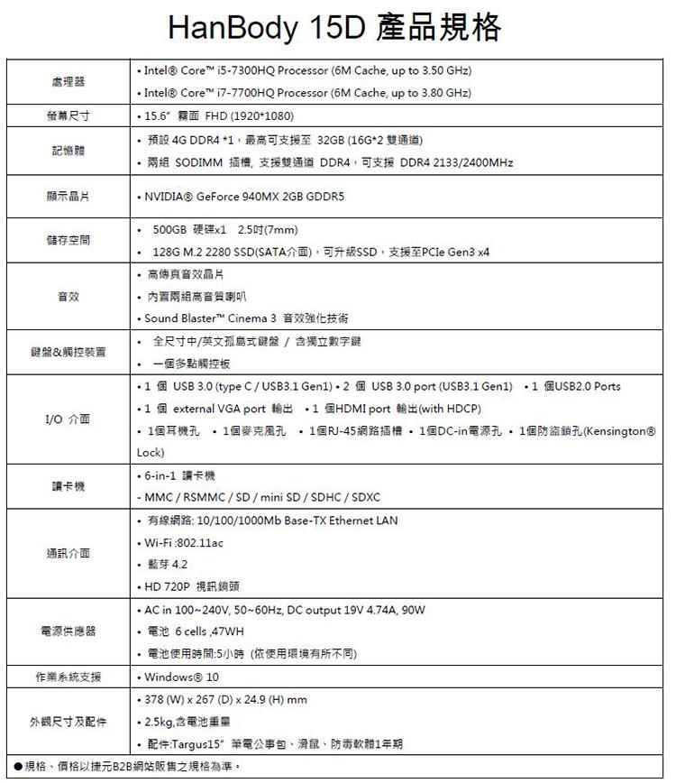 Genuine 捷元 HanBody 15D  (i7-7700HQ) 筆記型電腦 CP值高嗎