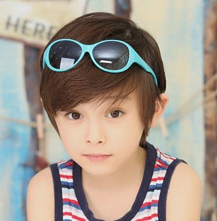 Kocotree◆時尚花朵水晶鑽氣質純色嫩色百搭兒童太陽眼鏡-淺藍色