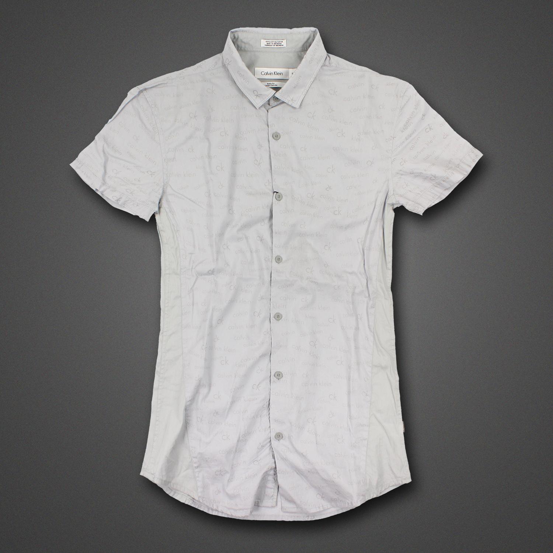 美國百分百【Calvin Klein】襯衫 CK 男衣 短袖 口袋 字母 休閒 上衣 XS S號 logo 灰 F342