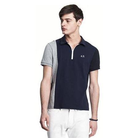 美國百分百【Armani Exchange】polo衫 AX 短袖 上衣 素面 半拉 拼色 深藍 灰 男 XS F388
