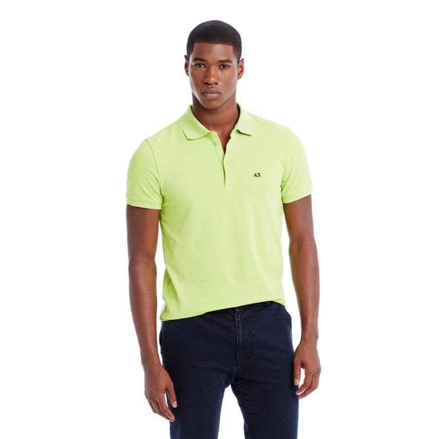 美國百分百【Armani Exchange】polo衫 AX 短袖 上衣 素面 棉 翻領 蘋果綠 男 S號 F391