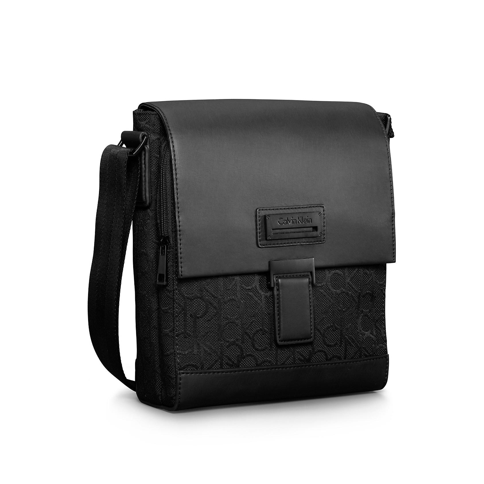 美國百分百【全新真品】Calvin Klein CK 皮質 公事包 肩背包 飛行包 郵差包 側背包 黑色 F434