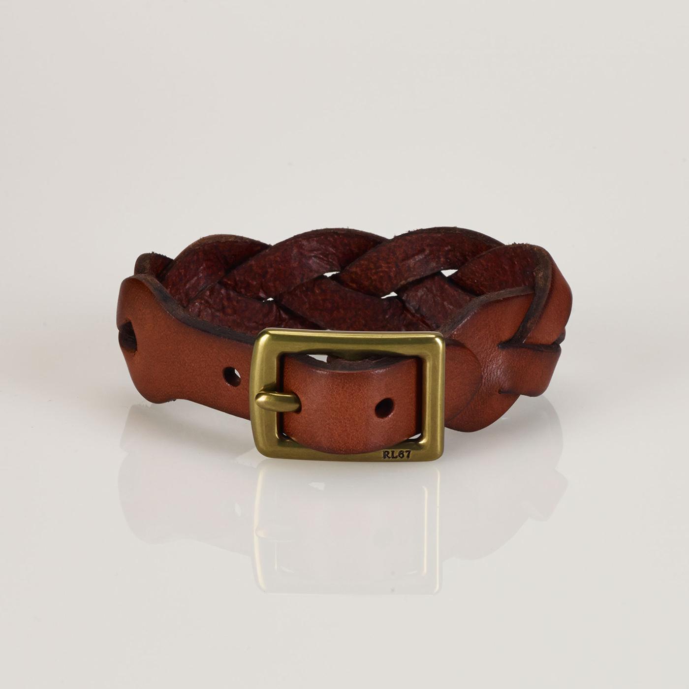 美國百分百【全新真品】Ralph Lauren 編織手環 手鍊 皮革 腕帶 7吋 RL 皮編 男 女 咖啡 F435