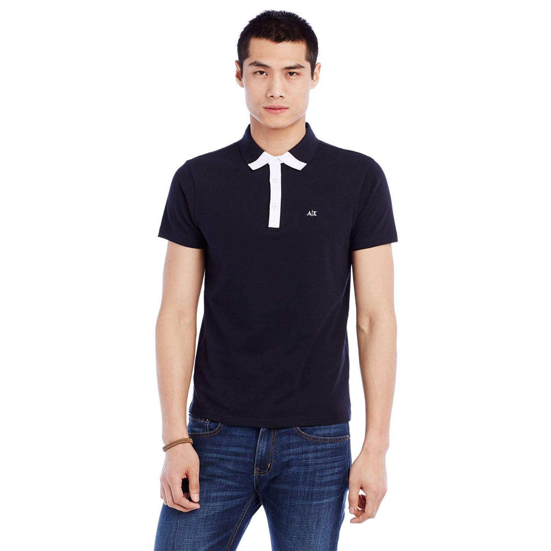 美國百分百【Armani Exchange】polo衫 AX 短袖 上衣 素面 網眼 翻領 白色 深藍色 男 XS S號 F457