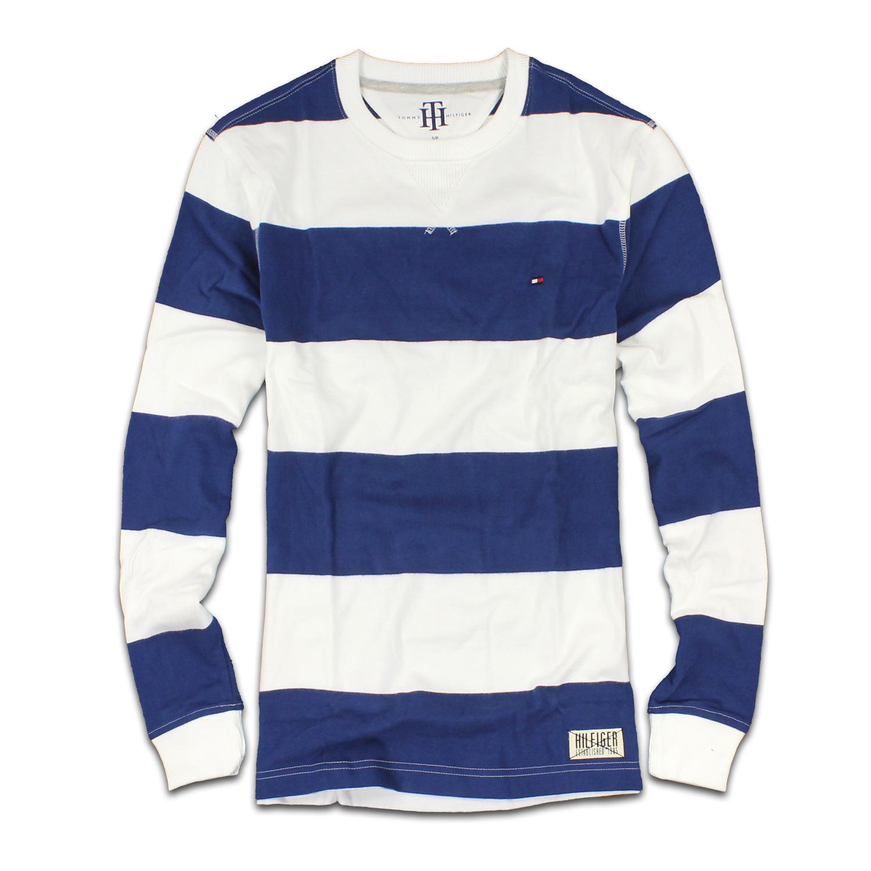 美國百分百【Tommy Hilfiger】T恤 TH 男 T-shirt 長袖 長T 條紋 上衣 藍 白 S號 F301
