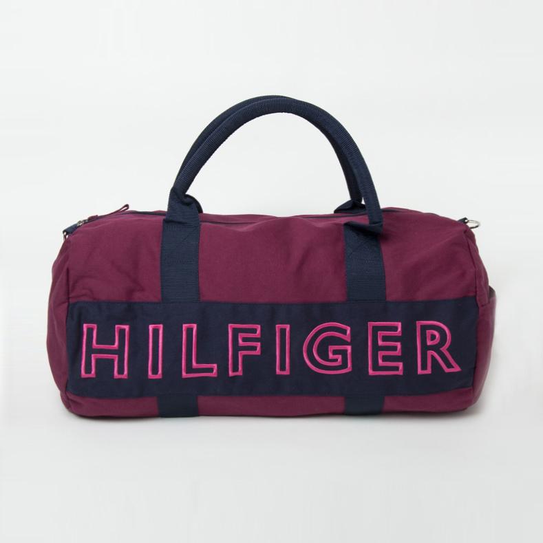 美國百分百【Tommy Hilfiger】旅行袋 TH 圓筒包 運動包 側背包 出國 深藍 葡萄紫 女包 F443