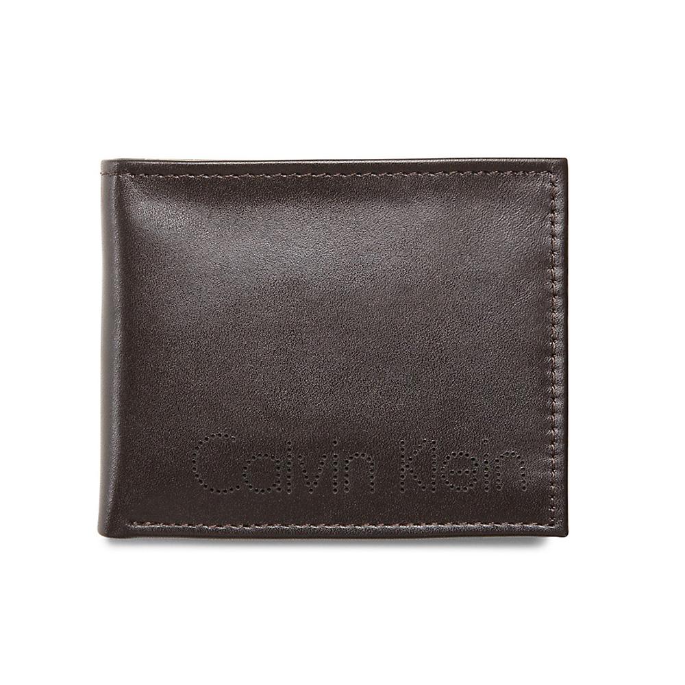 美國百分百【Calvin Klein】皮夾 CK 短夾 真皮 二折 皮革 質感 鈔票 零錢 男 洞洞款 咖啡 C372