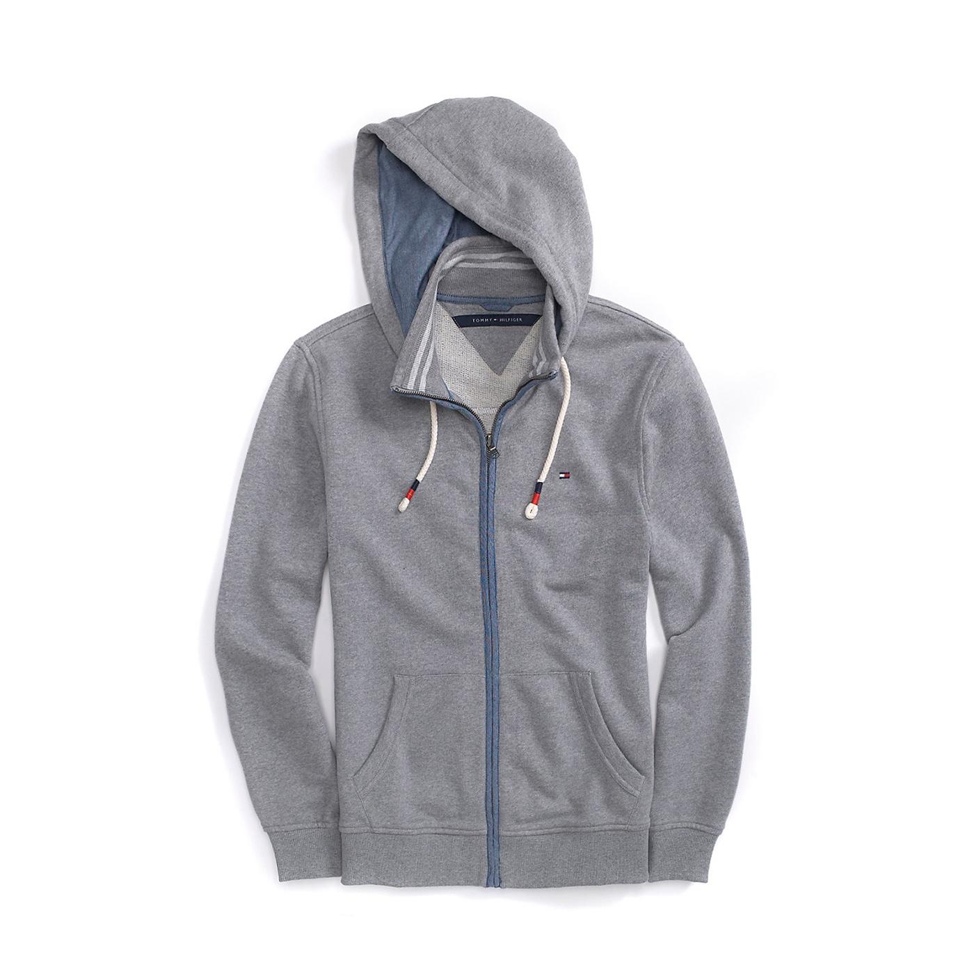 美國百分百【全新真品】Tommy Hilfiger 外套 TH 連帽 夾克 帽T 輕薄 立領 S號 灰色 F476
