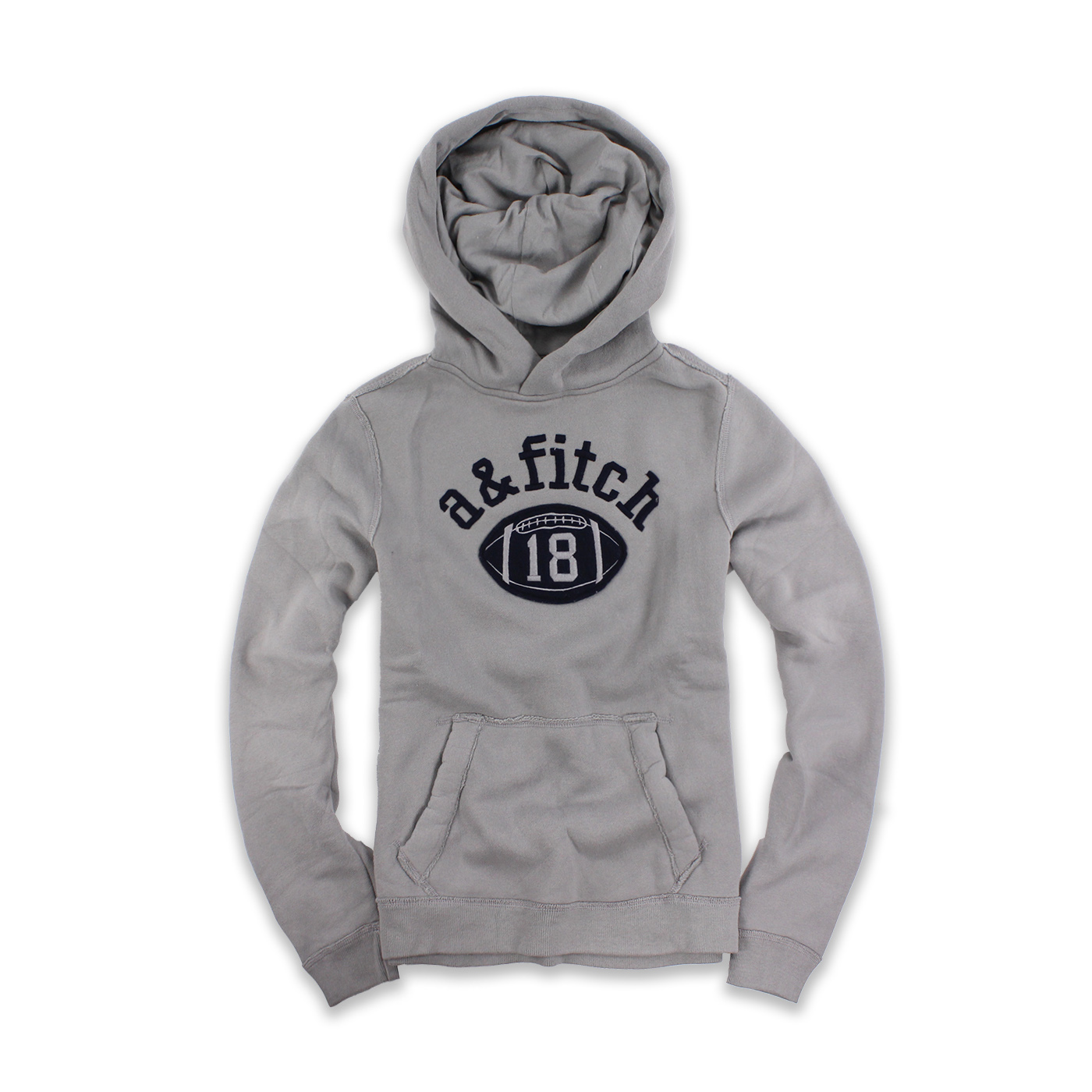美國百分百【Abercrombie & Fitch】帽T AF 連帽 麋鹿 鋪棉 橄欖球 灰色 S號 男 女 F498