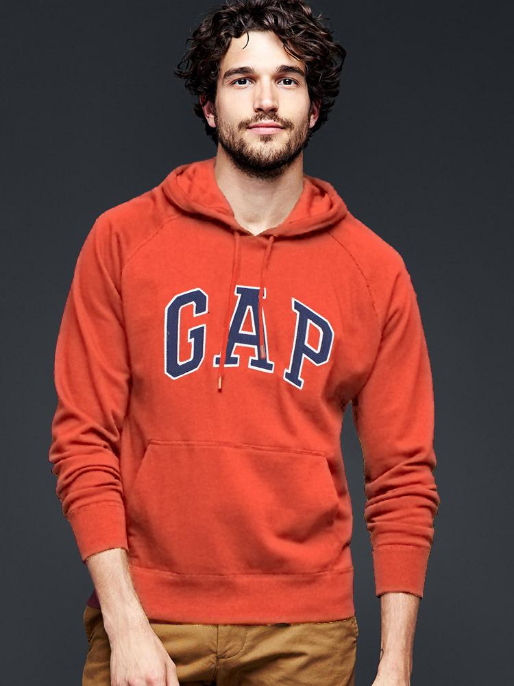 美國百分百【全新真品】GAP 帽T 上衣 外套 長袖 連帽 LOGO 貼布 橘色 現貨 男 XS號 E461