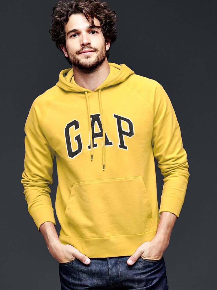 美國百分百【全新真品】GAP 帽T 上衣 外套 長袖 連帽 LOGO 貼布 黃色 現貨 男 M號 E461