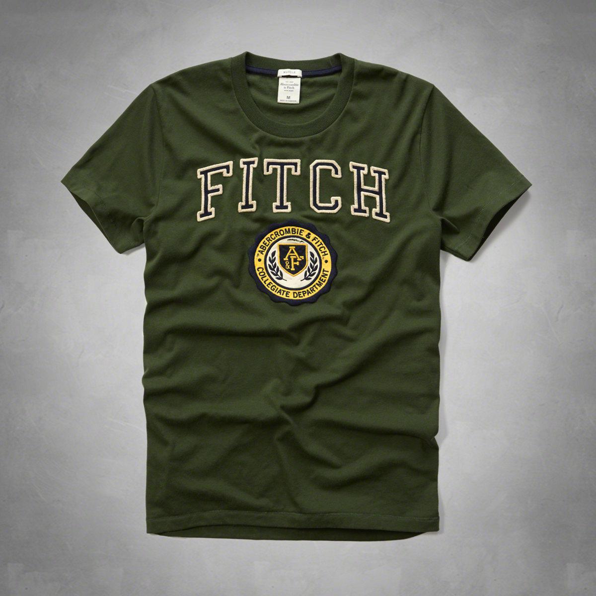 美國百分百【Abercrombie & Fitch】T恤 AF 短袖 T-shirt 麋鹿 徽章 綠色 特價 S M L XL XXL號 F594