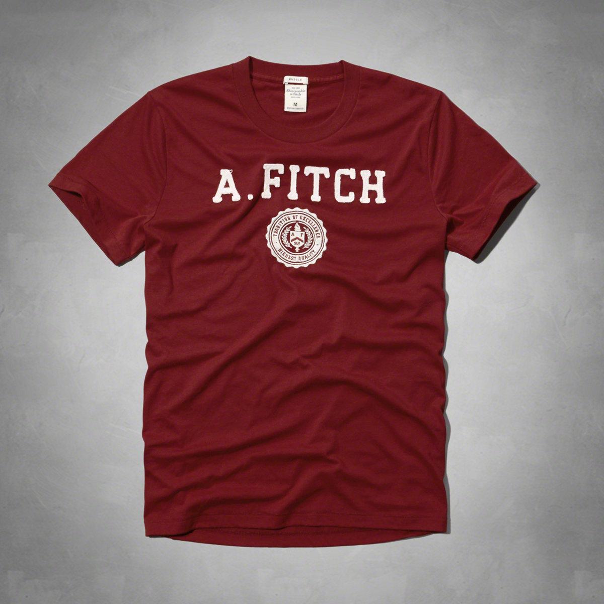 美國百分百【Abercrombie & Fitch】T恤 AF 短袖 T-shirt 麋鹿 徽章 紅色 特價 M、L、XL號 F595