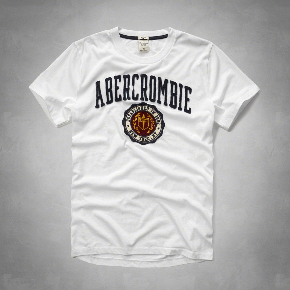 美國百分百【Abercrombie & Fitch】T恤 AF 短袖 T-shirt 麋鹿 徽章 白色 特價 S M L XL號 F598