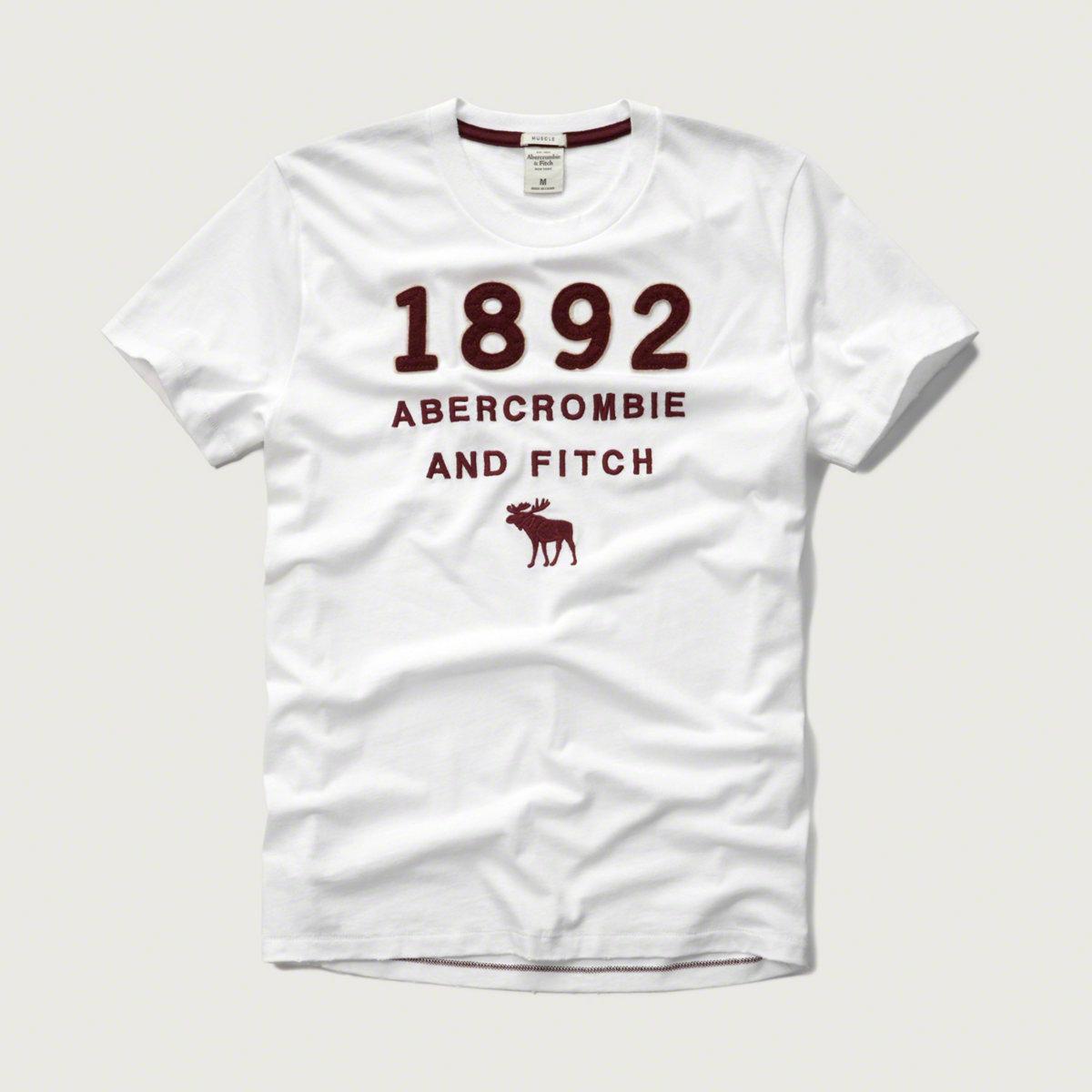 美國百分百【Abercrombie & Fitch】T恤 AF 短袖 T-shirt 麋鹿 白色 特價 L XL號 F599