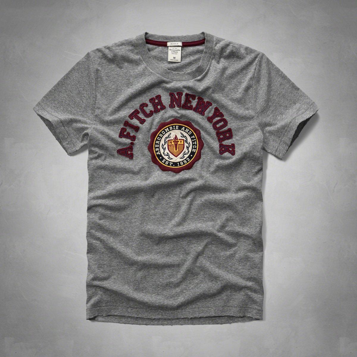 美國百分百【Abercrombie & Fitch】T恤 AF 短袖 T-shirt 麋鹿 徽章 灰色 特價 S M L XL號 F601